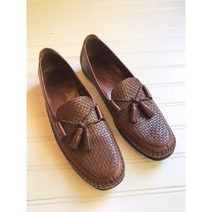 Cole Haan Country Loafers weave tassel brown sz 9